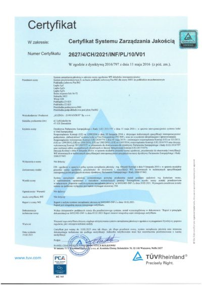 Certyfikat TUV 2627_4_CH_2020_INF_PL_10_V01