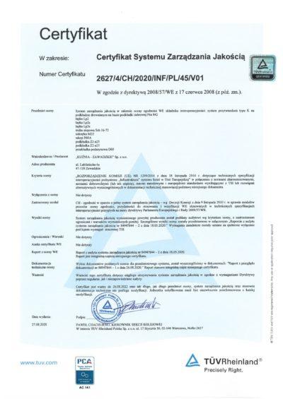 Certyfikat TUV 2627_4_CH_2020_INF_PL_45_V01