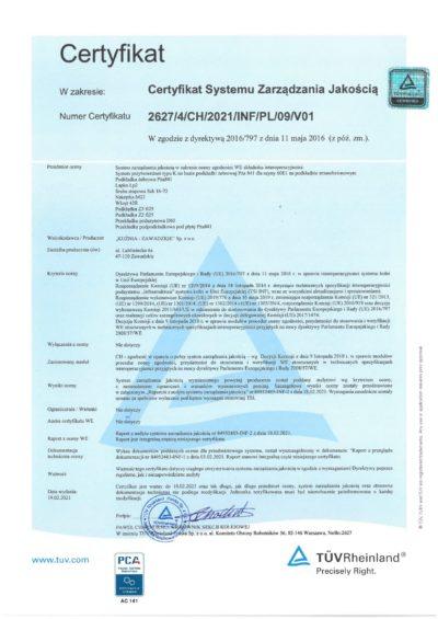 Certyfikat TUV 2627_4_CH_2021_INF_PL_09_V01